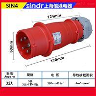 SIN4五芯工业插头IP44