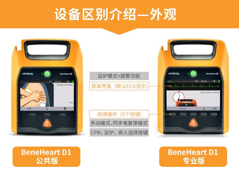 迈瑞AED除颤仪专业版与公共版外观区别