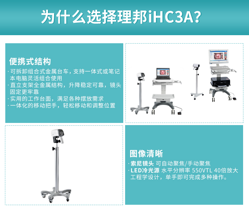 <strong>理邦电子阴道镜</strong>iHC3A优势,便携式结构,图像清晰