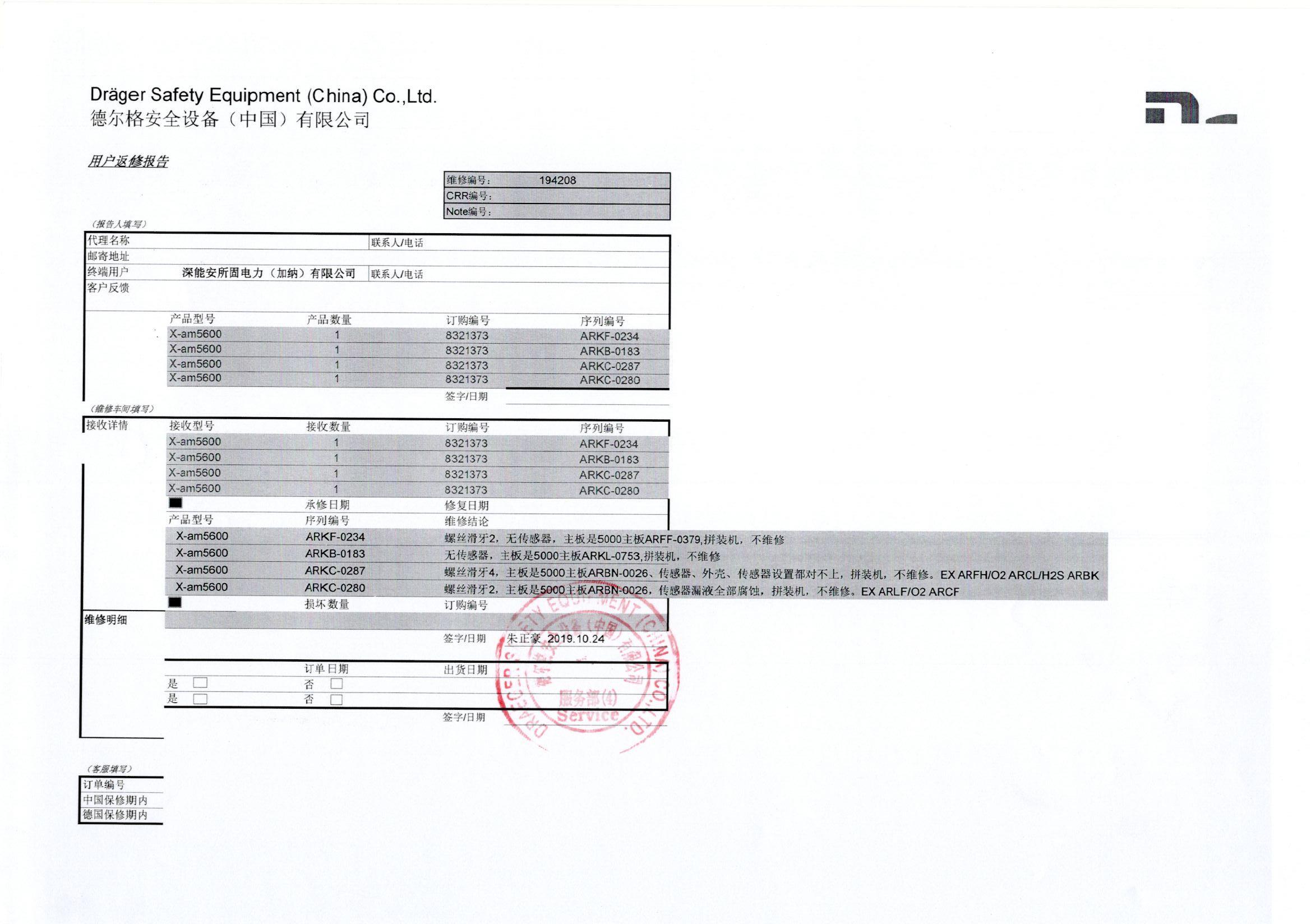 德尔格气体检测仪维修鉴定报告