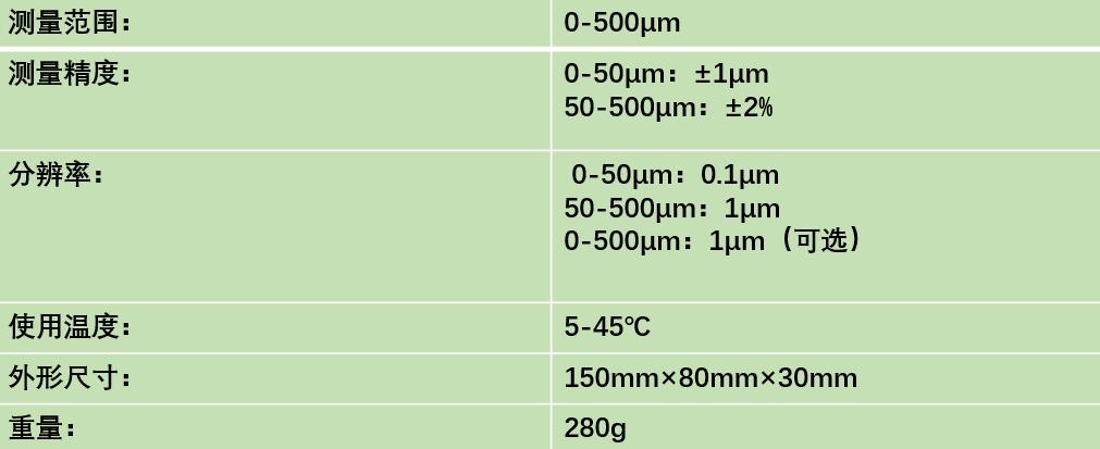 ED400涡流测厚仪技术参数